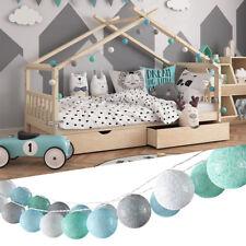 VICCO Lichterkette Cotton Balls Girlande grau weiß mint-grün hellblau 310 cm