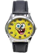 Spongebob Squarepants Round Face Black Leather Band Wrist Watch