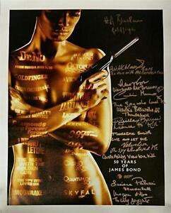 007 James Bond Girl Multi-Signed 16x20 Canvas Photo 11 Autographs & Inscriptions