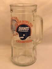 Glass Beer Stein Mug 1987 NFL New York Giants Super Bowl XXI Champions Fisher