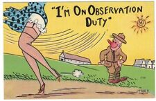 1940'S WWII WIND BLOWS GIRLS DRESS SOLDIER ON OBSERVATION DUTY MILITARY COMIC PC