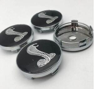 4pcs 60mm FORD SHELBY COBRA Blak Emblem Alloy Wheel Center Caps Hub Caps Rim Cap