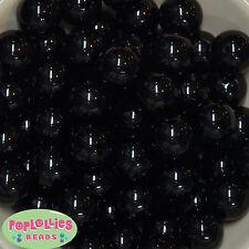 20mm Black Acrylic Solid bubblegum Beads Lot 20 pc.Chunky gumball