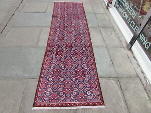 Vintage Traditional Hand Made Oriental Blue Wool Long Narrow Runner 277x76cm