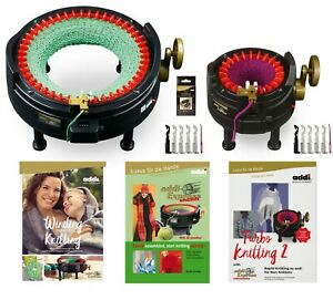 I WANT IT ALL SET- 2 ADDI KNITTING MACHINES WITH 3 PATTERN BOOKS AND ACCESSORIES