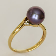 PEARL RING 9.5mm BLACK FRESHWATER PEARL GENUINE DIAMOND REAL 9K GOLD SIZE P NEW
