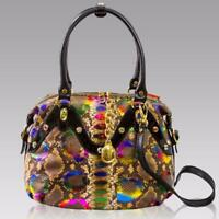 Marino Orlandi Designer Rainbow Python Embossed Leather Swarovski Crossbody Bag