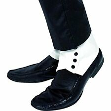 Men's spats gaiters with buttons, White, One Size