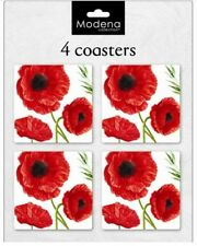 Set of 4 Coasters Dinning Room Decor Cork Backed Wipe Clean Poppies