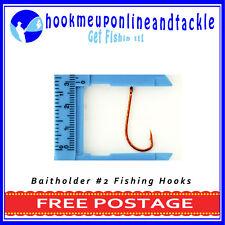 500 x Size #2 Red Bait Holder Hooks Saltwater Freshwater Fishing Tackle Bulk