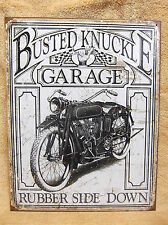 Busted Knuckle Garage Tin Metal Sign Decor Weathered Vintage Look Motorcycle NEW