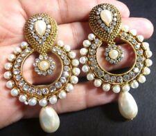 Indian Earrings Bollywood Designer Pearl CZ Stone Maning Fancy Drop Dangler Set