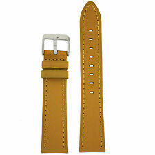 Watch Band Mustard Yellow Genuine Leather Stitched Strap LEA452