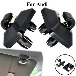 2pcs For Audi A3 A4 A5 Q2 Q3 Q5 TT RS3 Sun Visor Clip Holder Hanger Black