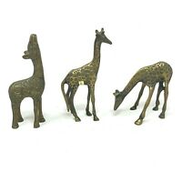 """Vintage Brass Giraffe Family Lot of 3 5"""" Inches Tall Statue Figurine Miniatures"""