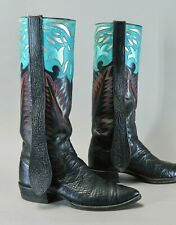 Tall! PAUL BOND Shark Mule Ears Stovepipe Size 9 D Men Custom Vtg Cowboy Boots