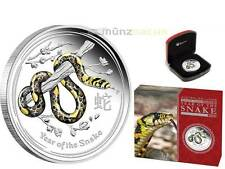 1 $ Dollar Lunar II Schlange Snake farbig Farbe Australien 1 oz Silber 2013 PP