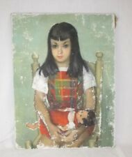 Vtg Mid Century Oil Painting Girl Holding Doll Unsigned Chipping Paint Creepy