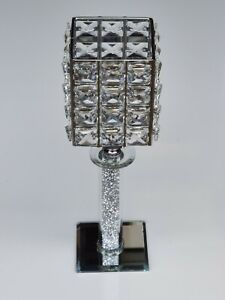 Diamond Crystal Pillar candle Tealight holder Silver Mirror Glass 28cm Square