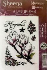 CRAFTER'S COMPANION EZ Mount STAMPS Magnolia Blossom Flowers Cling Rubber 7p Set