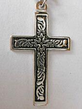Kreuzkette, Kreuz mit schwarz-silberfarbenen Gravuren, Kettenlänge ca.52cm,NEU!!