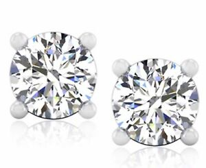 Real Stud 1.00 Ct Diamond Solitaire Studs Solid 950 Platinum Earring