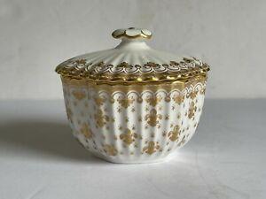 FLEUR DE LYS Gold SPODE Bone China Lozenge Covered Sugar Bowl Gold Trim MINT
