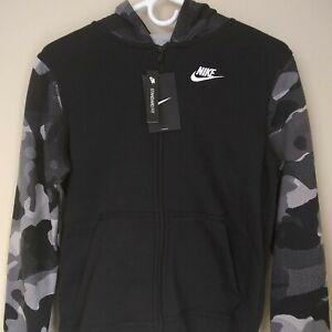 NWT Nikes Boy's Black White Camo Full Zip Hoodie Jacket BV4496-010 Size L