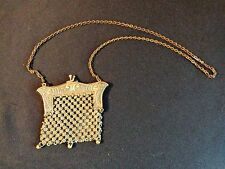 antique silver Chain Mail Mesh purse, Victorian Art Nouveau Chatelaine, tassels