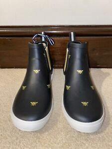 Joules Size 4 Black Bee Print Wellies Rain Boots Wellibobs New No Box