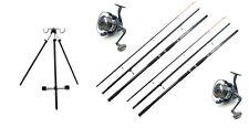 2 080 flares Reels + line 2 Concept  14ft Rods Sea Fishing Beach Tripod Kit Set