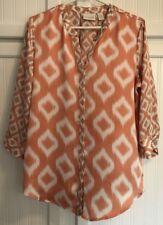 Chico's Womens Size 1 M Blouse 2 Prints Shirt V Neck Top Orange White 3/4 Sleeve