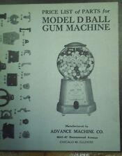 Advance gum  machine price list of parts model D Ball Gum machine ad sheet nice
