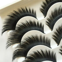 5 Pairs False Eyelashes EXTRA LONG Dramatic Thick Volume Lashes MakeUp Eyelash