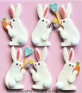 EASTER BUNNIES Jolee's Boutique 3-D Craft Stickers - White Rabbit Flowers