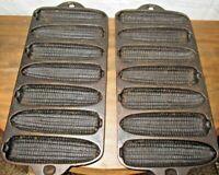 "Vintage Cast Iron Corn Bread Pan Set of 2- Marked ""B""- Maker Unknown-USA-nice"
