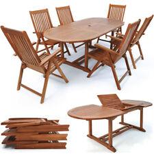 Deuba Conjunto de 1 mesa y 6 sillas plegables de madera de acacia Jardín Terraza