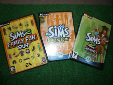 3 x PC CD ROM THE SIMS 2 II EXPANSION PACKS UNIVERSITY FAMILY FUN & SUPERSTAR