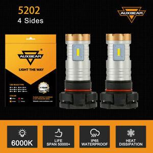 AUXBEAM 5202 LED Fog Light Bulbs for GMC Sierra 1500 2500 3500 HD 2008-2016 6K