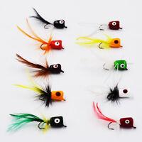 Flyafish 10pcs Bass Popper Dry Fly Fishing Lure Kit Panfish Bait
