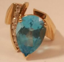 Genuine Blue Topaz & White Sapphire 10K Gold Ladies Ring, finger size 5.75