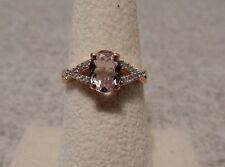 1.19ct Size 8 Genuine Morganite & White Zircon 10K Rose Gold Ring