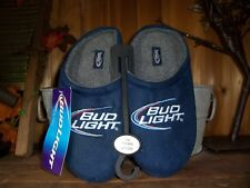 BUD LIGHT MENS HOUSE SLIPPERS SIZE SMALL 7-8 COLOR BLUE MENS BEER SLIPPERS