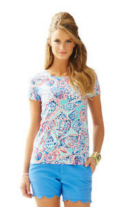 NEW Lilly Pulitzer KARRIE TOP T SHIRT Shell Me About It SHELLS Blue Pink XS S M