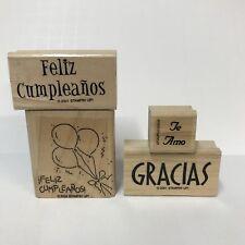 Lot 4 Stampin Up Rubber Stamps Spanish Language Feliz Cumpleanos Gracias Te Amo