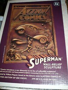 DC COMICS SUPERMAN ACTION #1 COLD-CAST WALL-RELIEF SCULPTURE PAQUET LTD 800
