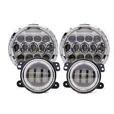 "Coppia LED FANALI FARI 7""Angel Eye DOT+Nebbia Luce per For Jeep Wrangler Mercede"