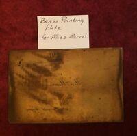 "MISS MORRIS Vintage Brass Printing Plate 4082 Neward Avenue 3-3/4 X 2-3/8"""