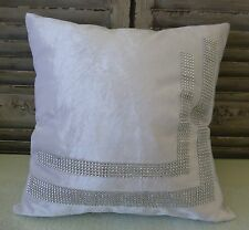 White cushion cover with sparkling rhinestones 45 X 45