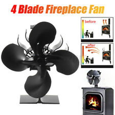 4 Blade Fan Heat Self-Powered Wood Stove Top Burner Fireplace 1100RPM Silent Eco